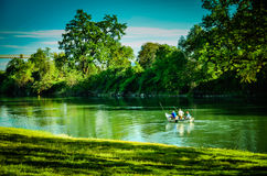 California, Sacramento River. Fishing on the tranquil Sacramento River near Redding, California royalty free stock photography