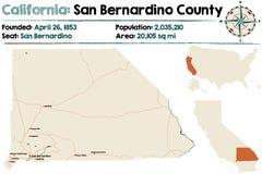 California - San Bernardino county map. Large and detailed map of California - San Bernardino county Royalty Free Stock Photos