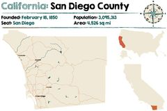 California - San Diego county map. Large and detailed map of California - San Diego county Stock Photo