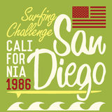 California San Diego typography, t-shirt Printing design, Summer vector Badge Applique Label.  Royalty Free Stock Photo