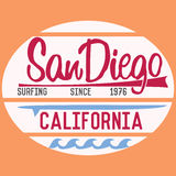 California San Diego typography, t-shirt Printing design, Summer vector Badge Applique Label Royalty Free Stock Image