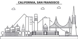 California, San Francisco architecture line skyline illustration. Linear vector cityscape with famous landmarks, city Royalty Free Stock Images