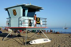 California: Santa Cruz beach lifeguard ocean Royalty Free Stock Images