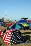 California: Santa Cruz crowded beach umbrellas Royalty Free Stock Image