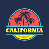 California - Santa Monica beach - vector illustration concept in vintage graphic style for t-shirt and other print production. Palms, wave and sun vector Royalty Free Stock Images