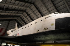 California Science Center Endeavor. A long look at the Space Shuttle Endeavor. Looking up from a ground floor angle just in front of the wing Stock Photo