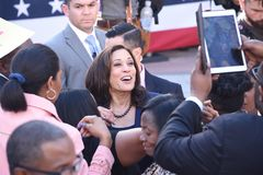 Kamala Harris Comes To Oakland California. California Senator Kamala Harris comes to her hometown, Oakland California, to announce her bid to run for President royalty free stock photos