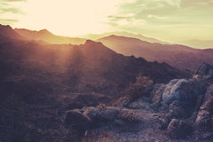 California Sonora Desert at Sunset. Sunset  Mountains Near Palm Springs California Royalty Free Stock Photos