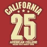 California sport wear T-shirt Typography design. Vector royalty free illustration