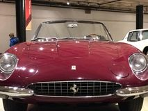 1967 Ferrari 365 California Spyder in perfect red. The 365 California Spyder was built as a successor to the 500 Superfast and was sold primarily to Ferrari's Royalty Free Stock Photography