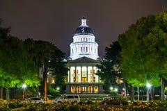 California state capitol building in Sacramento. Night view of the California state capitol building in Sacramento royalty free stock photography