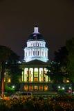 California state capitol building in Sacramento. Night view of the California state capitol building in Sacramento stock image