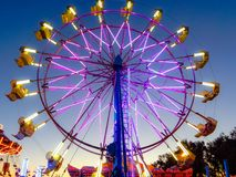 California State Fair Purple Ferris Wheel. State fair purple Ferris wheel in Sacramento, California. California in July stock photography