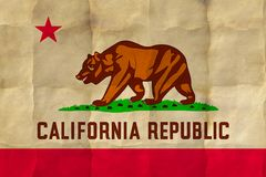 California State flag. On crumpled paper royalty free stock image