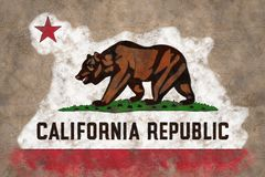California State flag. Vintage, crumpled paper background stock photo