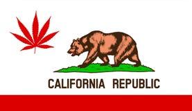 California state flag with marijuana leaf Stock Photo