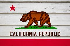 California State flag. On wood stock photos