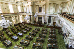 California State Legislature. Sacramento, California, USA - July 4, 2014:  Interior of the California State Legislature meeting room in the state capitol Stock Images