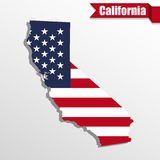 California State map with US flag inside and ribbon Royalty Free Stock Photos