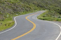 Marin County state road. California - state route in Marin County. Pacific Coast Highway. Part known as Shoreline Hwy 1 Royalty Free Stock Image