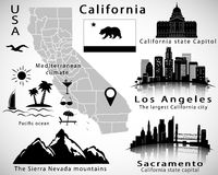 California state vector set: city skylines, icons, map, flag Royalty Free Stock Photo