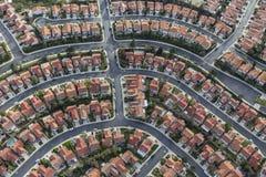 California Suburban Neighborhood Aerial. Aerial view of modern suburban neighborhood in Los Angeles California Stock Photos