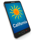 California And Sun On Mobile Means Great Weather In Golden State Stock Image