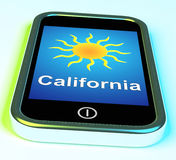 California And Sun On Phone Means Great Weather In Golden State Royalty Free Stock Images