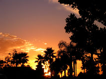 California Sunset. The sun sets over a shopping mall in the seaside city of Ventura Stock Photography