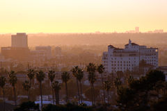 California sunset. Cityscape view of Los Angeles at sunset Stock Image