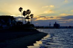 California sunset with bright orange clouds Stock Photography