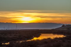 California Sunset East Bay 2019. California sunset spring 2019 East Bay  Coyote Hills royalty free stock image