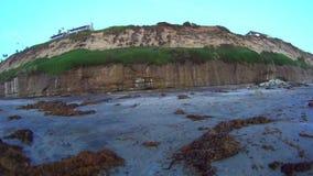 California Sunset Ocean Moonlight Beach 180 PAN. California Sunset Low Tide Ocean Moonlight Beach 180 PAN Sunset Encinitas San Diego CalifornianA JSE Film USA stock footage