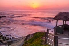 Gazebo in a California Sunset. Sunset at Shell Beach, La Jolla, California royalty free stock photos