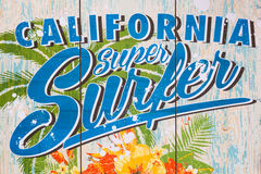 California super surfer print on a wall Stock Photo