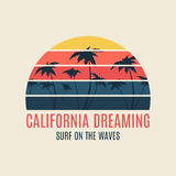 California surf illustration typography with a sunset Stock Image