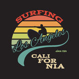 California surf illustration, vectors, t-shirt graphics Royalty Free Stock Images
