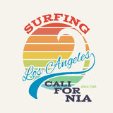California surf illustration, vectors, t-shirt graphics Stock Images