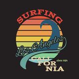 California surf illustration, vectors, t-shirt graphics Stock Image