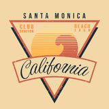 California surf sport typography. Vintage t shirt graphic 80s style Royalty Free Stock Photos