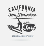 California surf typography, t-shirt graphics, logo club Royalty Free Stock Photo