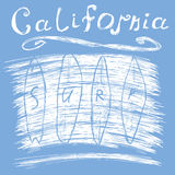 California surf typography, t-shirt Printing design graphics, vector poster, Badge Applique Label Royalty Free Stock Images