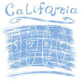 California surf typography, t-shirt Printing design graphics, vector poster, Badge Applique Label Stock Images