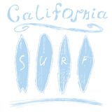 California surf typography, t-shirt Printing design graphics, vector poster, Badge Applique Label.  Stock Image