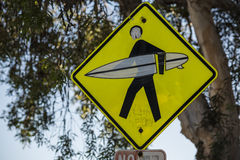 California surfer crossing road sign and symbol Stock Image