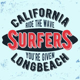 California surfers vintage stamp Stock Image