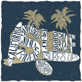 California Surfing Poster Royalty Free Stock Images