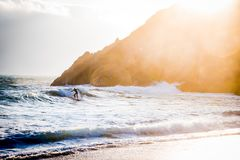 California Surfing Sunset stock photo