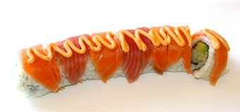 California Sushi Roll topped with eel Royalty Free Stock Photo
