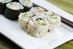 California Sushi Rolls ready to Eat Stock Photo